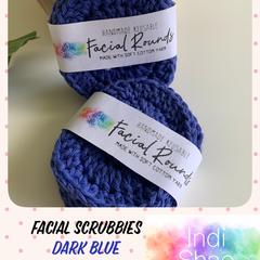 Dark Blue Crocheted Face Scrubbies