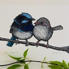Australian Birds - Fairy Wrens - Linoprint and watercolour