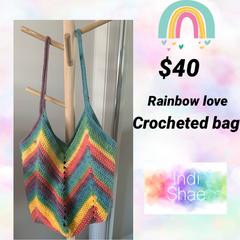 Rainbow Love Crocheted Bag