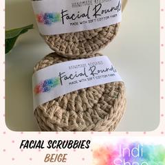 Beige Crocheted Face Scrubbies
