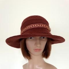Women chocolate brown sunhat wide brim