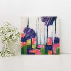 Original Abstract Floral Painting on Canvas - In my Garden