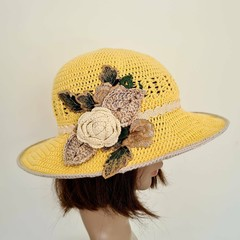 Women sun hat with crochet rose applique