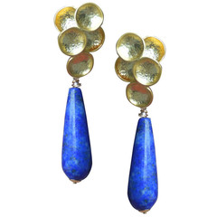Lily Earrings with Lapis Lazuli Gold or Silver