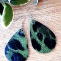 Genuine Leather Teardrop Earrings. Green/Black Leopard Print