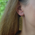 Rectangle long drop Earring Gold or Silver