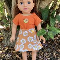 Dolls Clothes Reversible Skirt/TShirt Set Daisy/orange to suit 45cm/18inch doll
