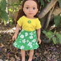 Dolls Clothes Reversible Skirt/TShirt Set Green/yellow to suit 45cm/18inch doll