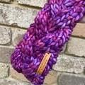 Cable pink purple knit headband chunky braided earwarmers merino pink