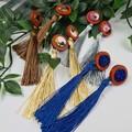 Navy Tassles - Resin, Wood and Sillk - Glittering Drop Resin - earrings