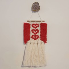 Hand woven wall hanging - red hearts