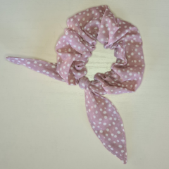 Dusty Pink with Cream Spots Scrunchy with Bow