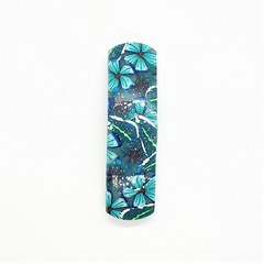 Hair clip - turquoise floral