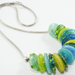 "Lampwork Unworry Green and Blue Disc Bead Necklace 16"" Sterling Silver"