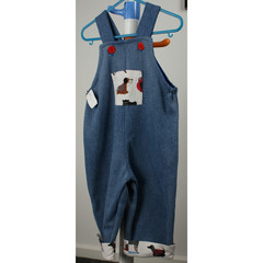upcycled denim winter overalls lovely puppy - size 1