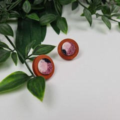 Musk Wood Sparkle Resin Set Button - Stud Earrings