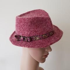 Women red wet felted fedora hat