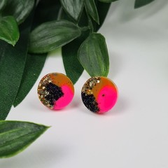 Electric Pink Sparkle Resin Dot Button - Stud Earrings