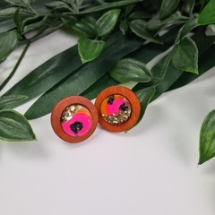 Electric Pink and Wood Sparkle Resin Set Button - Stud Earrings