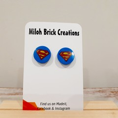 SUPER HERO Logo Brick Stud Earrings