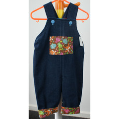 Woodland winter overall upcycled denim size 00