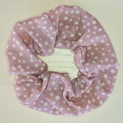 Dusty Pink with Cream Spots Scrunchy