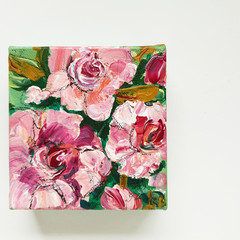 Original Desktop Art - Acrylic Painting of Roses on Canvas