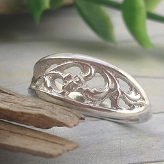 VINTAGE SPOON RING. Pierced Solid Silver Ring. Upcycled Silverware Jewellery.