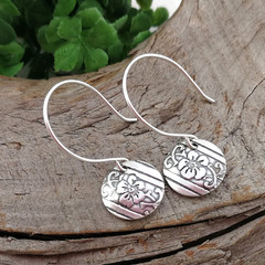 Small DISC EARRINGS with Hoop Style Hooks. Upcycled From Sterling Silverware.
