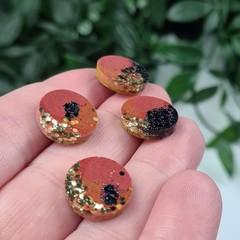Chocolate Milk Sparkle Resin Dot Button - Stud Earrings