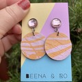 Pink / orange print earrings