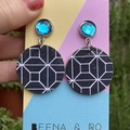 Blue / white geometric print earrings