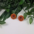 Chocolate and Wood Sparkle Resin Set Button - Stud Earrings