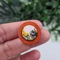 Mustard Wood Sparkle Resin Set Button - Stud Earrings