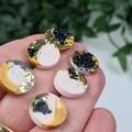 Mustard Sparkle Resin Dot Button - Stud Earrings