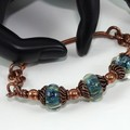 Lampwork Copper Wire Wrapped Hinged Bracelet