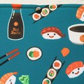 Sushi print padded book sleeve. Booksleeve with closure.