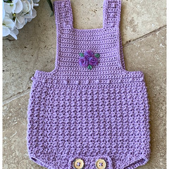 Crochet Cotton Baby Romper, Lilac, size 0-3 months. Soft Australian Cotton.