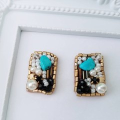 Beads earrings, Beads stitch earrings, Beads stud earring, Glass beads, Turquois