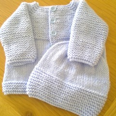 BABY JACKET AND BEANIE IN BLUE JAMES C BRETT 8PLY TO FIT 0-3 MTHS