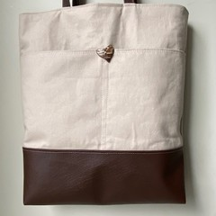 Handmade Large Canvas and Pleather Tote