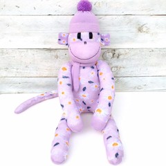 'Daisy' the Sock Monkey - purple with white daisies - *MADE TO ORDER*