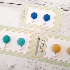 Fabric Button Earrings with Beads