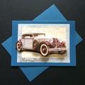 Happy Birthday - Classic Vintage Car on Glossy Teal Card