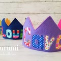 Personalized Felt Birthday Crown / 10 available colors to choose! / with Name /