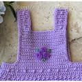 Crochet Cotton Baby Romper, Lilac, size 0-3 months. Soft Australian Cotton.