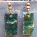 Mossy Dangles - copper enamel earrings