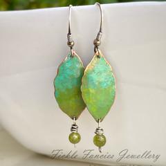 Coloured Copper - Leaf and Peridot Earrings