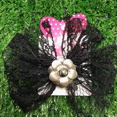 Black Lace Pinwheel Bow with Embellishment.