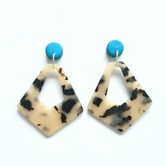Teal Diamond Dangle Earrings